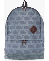 Thom Browne - Grey Jacquard Woven Whale Print Backpack - Lyst