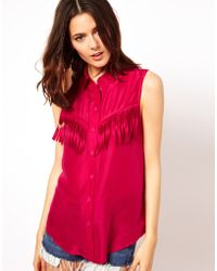 ASOS Collection Sleeveless Shirt in Silk with Fringe Detail - Lyst