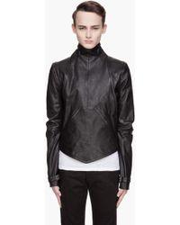 Gareth Pugh - Black Leather Zippered Removable Sleeve Bib Jacket - Lyst