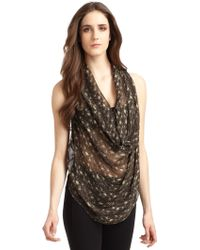 Maggie Ward - Leather and Silk Chiffon Top - Lyst