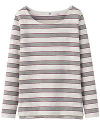 Uniqlo Women Striped Boat Neck Long Sleeve Tshirt B - Lyst