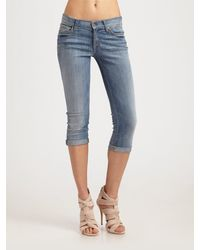 7 For All Mankind Skinny Roll Up Jeans - Lyst