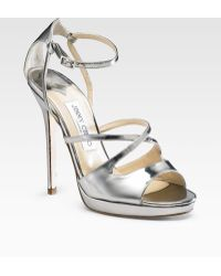 Jimmy Choo Frost Mirrored Leather Sandals - Lyst