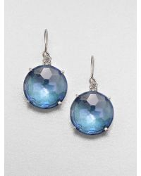 KALAN by Suzanne Kalan - London Blue Topaz, White Sapphire & 14K White Gold Drop Earrings - Lyst