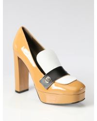 Marni Colorblock Patent Leather Loafer Pumps - Lyst