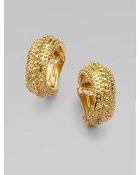 Oscar de la Renta Antiqued Gold Hoop Earrings - Lyst