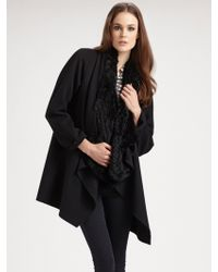 Theory Draped Wool Coat with Fur Vest - Lyst