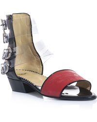 Toga Pulla - Embossed Leather Four Buckle Sandals - Lyst
