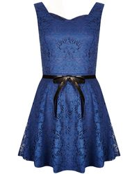 Topshop Bow Lace Dress By Wal G blue - Lyst