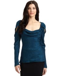 Zac Posen Silk Jacquard Cold Shoulder Top - Lyst