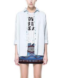 Zara Oversized Denim Shirt - Lyst