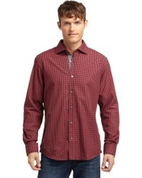 Blue Saks Fifth Avenue - Checked Shirtbrick Red - Lyst