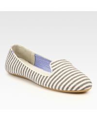 Charles Philip Shanghai Tropez Striped Canvas Smoking Slippers - Lyst