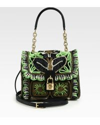 Dolce & Gabbana Medium Dolce Floralprint Raffia Leather Top Handle Bag - Lyst
