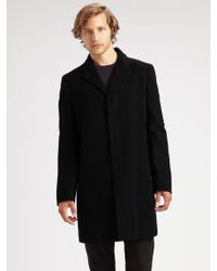 Calvin Klein Black Woolcashmere Overcoat - Lyst