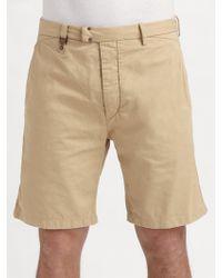 Diesel Beige Gabardine Shorts - Lyst
