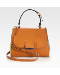Fendi Silvana Pequin Canvas and Leather Bag - Lyst