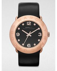 Marc By Marc Jacobs Amy Rose Goldtone Stainless Steel & Leather Strap Watch - Lyst