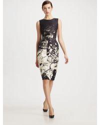 Oscar de la Renta Printed Silk Sheath Dress - Lyst