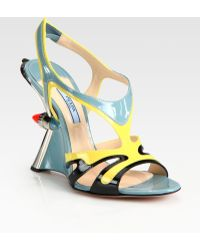Prada Patent Leather Tail Light Wedge Sandals - Lyst