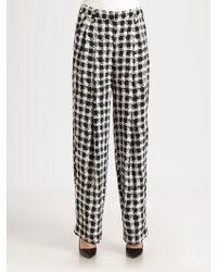 Sonia by Sonia Rykiel Pleated Check-Print Silk Pants - Lyst