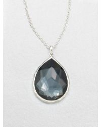 Ippolita - Wonderland Hematite, Clear Quartz & Sterling Silver Large Teardrop Doublet Pendant Necklace - Lyst