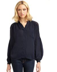 Madison Marcus Sheer Panel Silk Blouse - Lyst