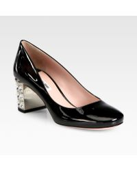 Miu Miu Patent Leather Crystal Heel Pumps - Lyst