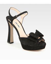 Miu Miu Suede Bow Platform Sandals - Lyst