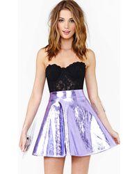 Nasty Gal Electric Metal Skirt Purple - Lyst