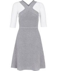 Yigal Azrouël Grey Cotton Waffle Knit Dress - Lyst