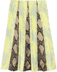Erdem Jemima Python-Print Satin Lace and Crepe Skirt - Lyst