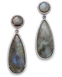 One By Crown Double Drop Earrings - Lyst