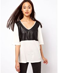 ASOS Collection T-Shirt in Crepe with Pu Trim - Lyst