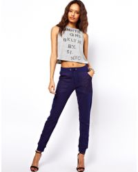 ASOS Collection Sweatpants in Slim Fit with Sheer Panel blue - Lyst
