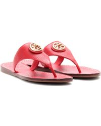 Tory Burch Selma Leather Thong Sandals - Lyst