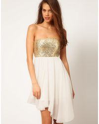 ASOS Collection | Sequin Bandeau Dress with Chiffon Skirt | Lyst