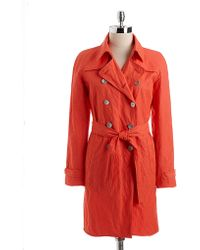 T Tahari Marcia Doublebreasted Trench Coat - Lyst