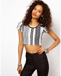 ASOS Collection 90s Crop Top with Aztec Stripe - Lyst