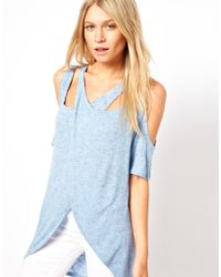 ASOS Collection | Top in Linen with A Cross Over Cold Shoulder | Lyst