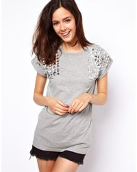 ASOS Collection Asos Tshirt with Jewel Shoulder - Lyst