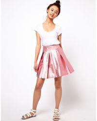 ASOS Collection Skater Skirt in Metallic - Lyst