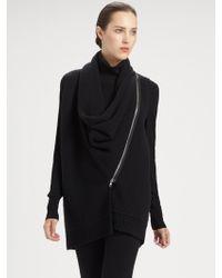 Donna Karan New York Asymmetrical Zip front Cashmere Vest - Lyst