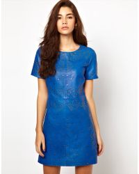 ASOS Collection | Asos Premium Shift Dress in Leather with Stud Detail | Lyst