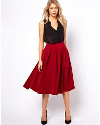 ASOS Collection Asos Full Midi Skirt with Box Pleats red - Lyst