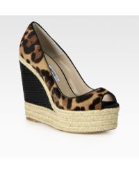 Brian Atwood - Cailey Leopardprint Pony Hair Leather Espadrille Wedges - Lyst