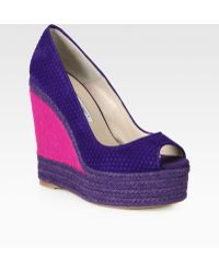Brian Atwood - Cailey Woven Suede Pony Hair Espadrille Wedges - Lyst