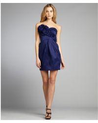 Max & Cleo - Mariner Blue Taffeta Lola Strapless Rosette Cocktail Dress - Lyst