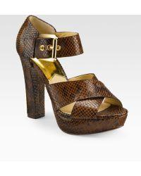 MICHAEL Michael Kors Ines Snakeprint Leather Sandals - Lyst