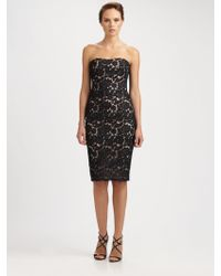 Notte by Marchesa Strapless Lace Cocktail Dress - Lyst
